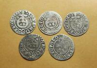 Set 5 pcs. European Medieval Era SILVER coins 1/24 thaler 1621-25 years #2923
