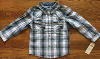 NWT BOYS SIZE 4 LEVI'S BARSTOW WESTERN PLAID SHIRT MSRP $46.00 Fits 3-4 Years