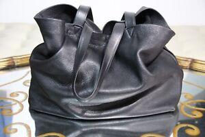 VILLAGE TANNERY NYC black Bottega leather tote Veneta bag XL large open unisex