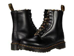 Women's Shoes Dr. Martens 1460 SERENA LEOPARD Faux Fur Boots 26239021 DARK GREY