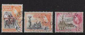 1954 - 1957 - Ghana / Gold Coast QE II 3 Used Stamps SG177 SG161 & SG162