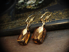 Vintage Amber Topaz Crystal Drop Hook Pierced Earrings