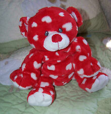 "Ty Pluffies Floppy Red w White Hearts DREAMLY Teddy Bear Toy 2007 10"" Sewn Eyes"