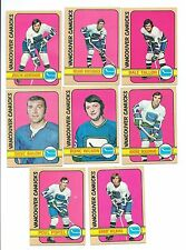8 DIFFERENT VANCOUVER CANUCKS 1972 - 73 TOPPS HOCKEY CARDS