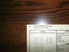 1976 Buick Century Models 350 CI V8 2BBL SUN Tune Up Chart Excellent Condition!