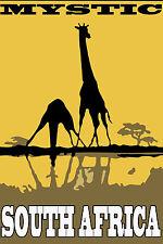 "south africa giraffe vintage travel art print for your glass frame 36"" x 24"""