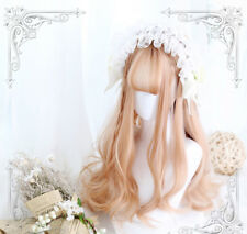 65 cm milky pink strawberry blonde matte wig front bangs fringes cute lolita amo