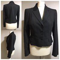 HOBBS British Designer Womens UK 12 Tailored Blazer Jacket Melange Dark Grey