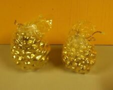 001B Gold Pine Cone Christmas Candles Made in Italy 3.5 Inches Tall Set of 2.