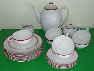 Arzberg 1382 / 1542 ROTRAND *** komplettes Tee-Service für 6 Personen *** KULT