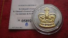 """Silbermedaille """"Die Sankt Edwards Krone"""" 2010 teilvergoldet + Swarovski !"""