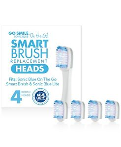 GoSMILE On The Go Sonic Blue Replacement Brush Heads, Set of 4