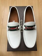 NEW GUCCI MEN WHITE SHOES LEATHER LOAFER DRIVER WEB SNAFFLE HORSEBIT UK 8.5 42.5