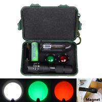 Zoomable 8000LM 3 Colors LED Tactical Flashlight Hunting Torch Light 18650 Lamp