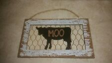 Wood Wall Farmhouse chicken wire Cow Moo hanging decor