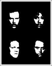 "Metallica Faces Music bumper sticker, wall decor, vinyl decal, 5""x 4"""