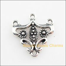 12 New Connectors Triangle Flower Tibetan Silver Tone Charms 19.5x21mm