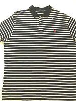 Polo Ralph Lauren Men Short Sleeve Polo Pullover Shirt 2XL Black White Stripe