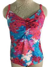 Reebok tankini TOP ONLY size L large bathing suit padded bra pink purple floral