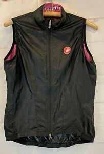 Castelli Size M Women's Vest Zip Up Cycling Black Windbreaker