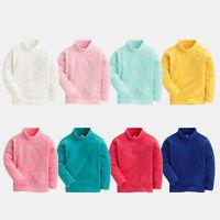 girl/boys polo neck shrit Micro fleece jumper long sleeve top age 2 3 4 5 6 7 8Y