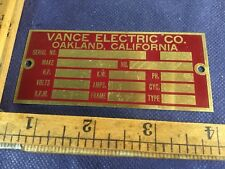 Vintage Brass Unengraved electrical equip. Name plate Vance Electric Oakland CA