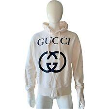 GUCCI Oversize Hoodie Kapuzenpullover mit GG Baumwolle cremefarben Gr. S