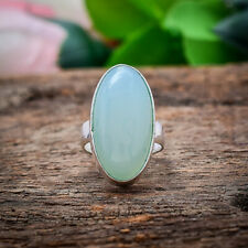 Awesome Aqua Chalcedony Gemstone 925 Sterling Silver Handmade Ring Gift For Her