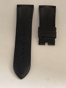 Genuine OFFICINE PANERAI Black Calfskin Leather Strap 26mm Lug / 22mm