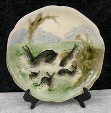 c. 1900 Antique French Majolica Choisy le Roi Rabbits in Garden Plate #7