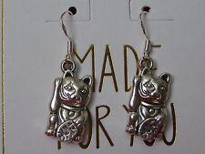 Maneki Neko Lucky Cat Charm Silver Plated Earrings~ 925 Sterling Wires~Talisman~