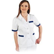 Damenkasack Kittel Arbeitskleidung Hygienebluse Weiß Blau Gr. S - XXL NEU TOP