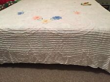 "Vintage~ White + Flowers~Chenille Bedspread~84x106"" or for Crafts Sewing Cutter"