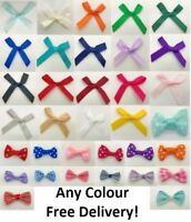 3cm Wide Pre-Tied Bows (From 7mm Satin Ribbon) Ideal for Crafts, Weddings, Gifts