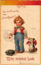 VALENTINE HOLIDAY CHILD DOG EMBOSSED POSTCARD 1909