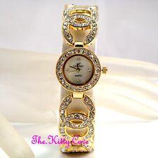 Ladies Gold Plt Designer Double Kiss White Dial Dress Watch w/ Swarovski Crystal
