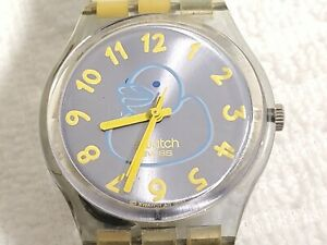 Vintage Swatch AG 2003 Swiss Made Ducky Bath Watch Yellow Blue Unisex