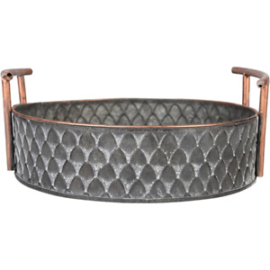 Vintage Bread Basket - Handcrafted  European Metal Tray - Retro Kitchen Decor