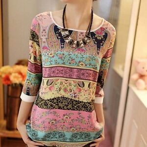 LACE PRINTING PUFF SLEEVES ROUND-NECK LOOSE TOP