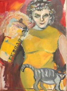 Vintage expressionist oil painting woman portrait cat