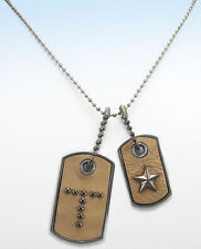 KH Studio Letter T Initial Leather Military DOG TAG w STAR Pendant Necklace