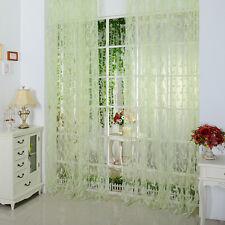 Leaf Floral Voile Door Window Curtain Drape Panel Sheer Balcony Scarfs Valances