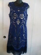 FULLY LINED-SEQUINED, FRINGED FLAPPER DRESS SIZE MEDIUM