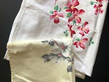 vintage textiles 2 dogwood theme cotton tablecloths yellow pink green