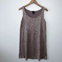 EILEEN FISHER Sequin Tunic Silk Cotton Tank Top Mini Dress Purple size Small