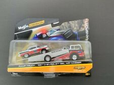 New 1957 Chevrolet Bel Air Gasser #786 Silver and Red with Ramp Tow Truck Elite