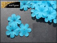 Acryl Blüten Perlen Blumen gefrostet türkis 33mm x 8mm Schmuckbasteln DIY