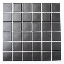 Mosaik Fliese Keramik schwarz quadratisch uni schwarz matt WB16-0311|1 Matte