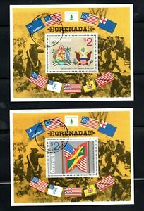 1976 Grenada $2. - Soldiers Flags USA - 200 Years 2 Mini Sheets CTO