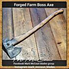 HAND FORGED FARM BOSS AXE TOMAHAWK BY MARK MCCOUN USA 3.2 LB HEAD 35 1/2' HANDLE